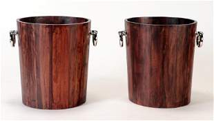 PAIR PLANTERS OR WASTE BASKETS METAL RING HANDLES