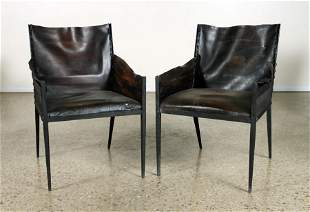 PAIR LEATHER ARM CHAIRS MANNER JEAN-MICHEL FRANK