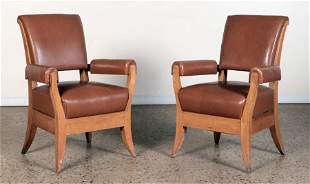 PAIR OF OAK AND LEATHER ARM CHAIRS C.1945