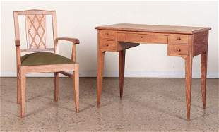 FRENCH CERUSED OAK WRITING DESK AND CHAIR C. 1940