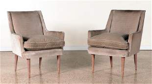 PAIR DIMINUTIVE UPHOLSTERED CLUB CHAIRS C.1945