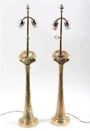 PAIR OF ART NOUVEAU BRONZE LOTUS LAMPS C. 1920