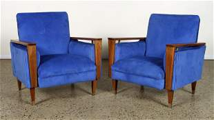 PAIR OF WALNUT CLUB CHAIRS WOODEN ARMS C. 1955