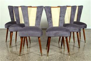 6 WICKER BACK DINING CHAIRS C. 1950