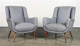 PAIR OF CLUB CHAIRS C. 1950 RECENT FABRIC
