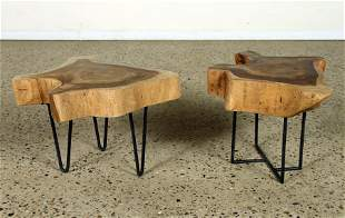 PAIR OF SLAB TOP TABLES ON IRON BASES
