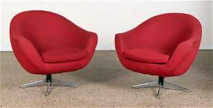 PAIR UPHOLSTERED SWIVEL CHAIRS CHROME BASES C.1970