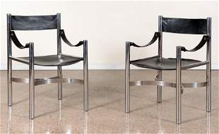 PAIR FRENCH CHROME AND LEATHER ARM CHAIRS C.1970