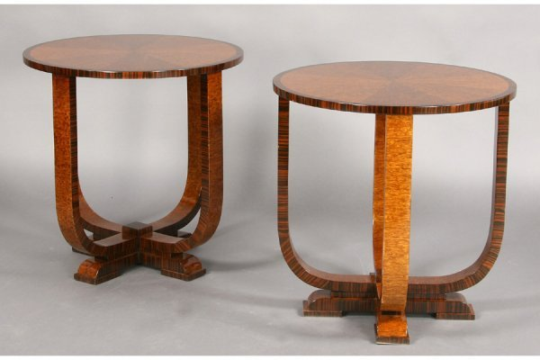 1: PR ART DECO STYLE SIDE TABLE EXOTIC WOOD