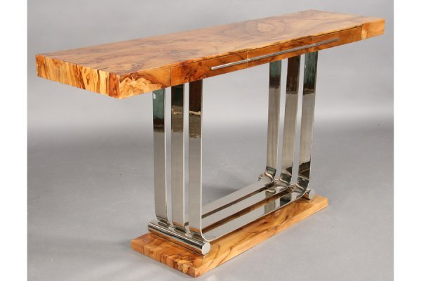 5: ART DECO STYLE EXOTIC WOOD CHROME CONSOLE TABLE