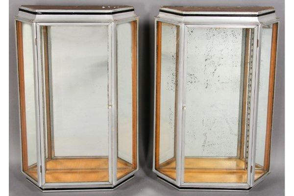 10: PAIR ART DECO NICKEL AND GLASS WALL MOUNT VITRINE