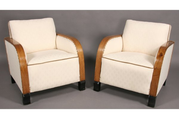 11: PR FRENCH STYLE ART DECO UPHOLSTERED CLUB CHAIRS