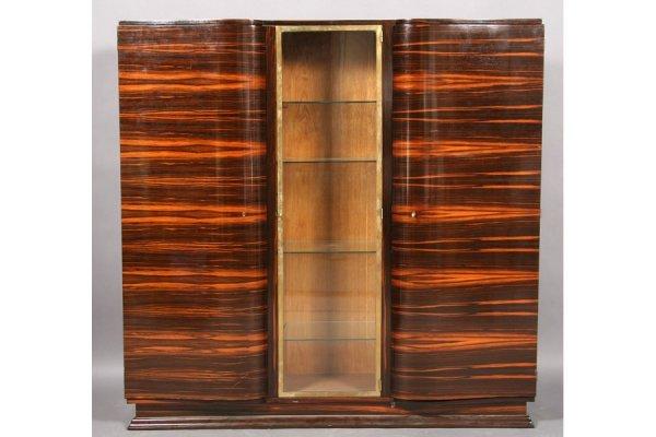 15: ART DECO MACASSAR GLASS BRONZE 3 DOOR CABINET
