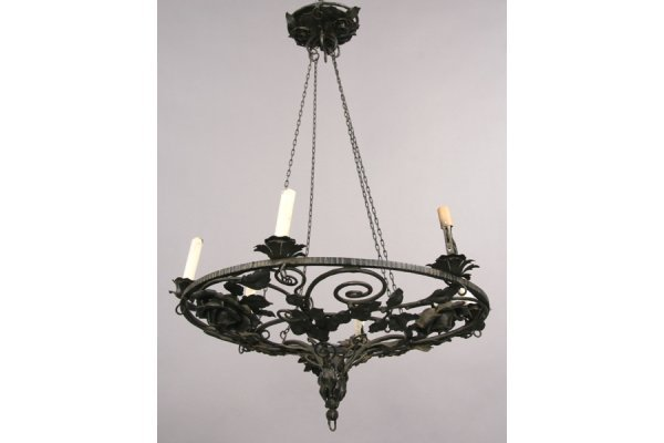 18: WROUGHT IRON CHANDELIER HAND HAMMERED