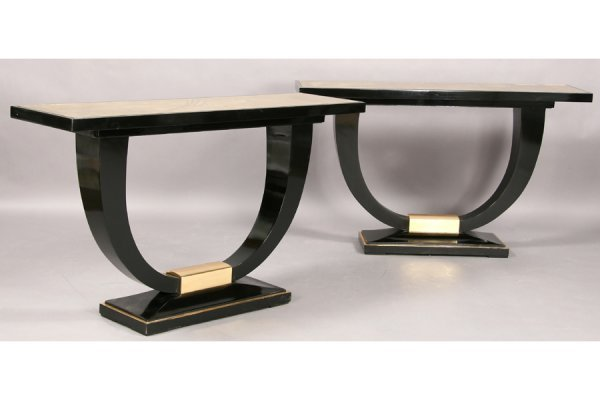 19: PR ART DECO EBONIZED CONSOLE TABLES