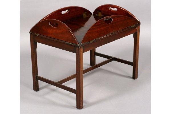 562: ANTIQUE ENGLISH MAHOGANY BUTLER TRAY COFFEE TABLE - 3