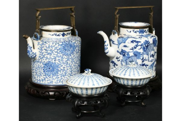 691: 4 PC PORCELAIN LOT: 19TH C. CHINESE BLUE & WHITE