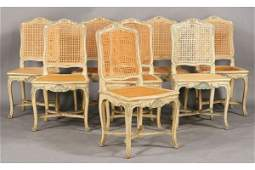 340A: SET 8 ANTIQUE FRENCH CANED DINING CHAIRS
