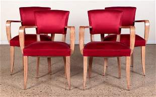 SET 4 FRENCH CERUSED OAK OPEN ARM CHAIRS C.1950