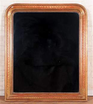 19TH C. FRENCH GILT WOOD MIRROR ROUNDED CORNERS