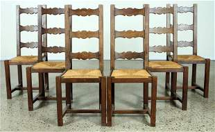 SET 6 FRENCH OAK DINING CHAIRS C.1940