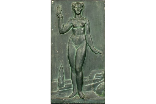 2: ART DECO PAINTED PLASTER BAS RELIEF GALLE FEMALE