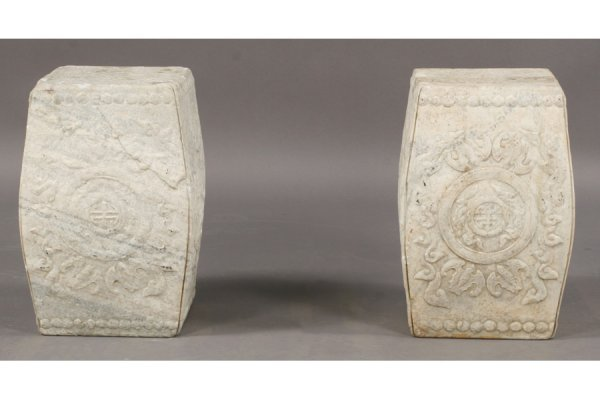 9: SIMILAR PAIR CARVED MARBLE ASIAN GARDEN STOOLS