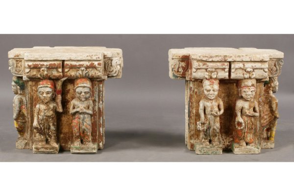 24: SIMILAR PR INDIAN CARVED STONE CAPITALS
