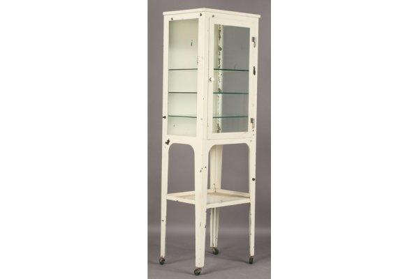 491: VINTAGE STEEL MEDICAL CABINET GLASS FRONT DOOR - 2