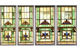 609: TWO PAIRS STAINED GLASS WINDOWS ARTS & CRAFTS