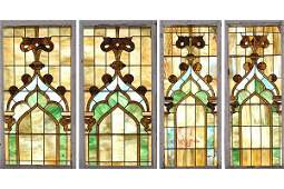 610: 2 PAIRS STAINED GLASS WINDOWS ONION MOTIF