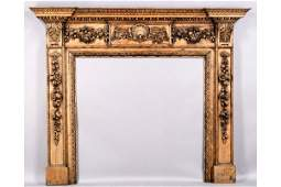640: ANTIQUE GEORGIAN STYLE CARVED PINE MANTLE MANTEL