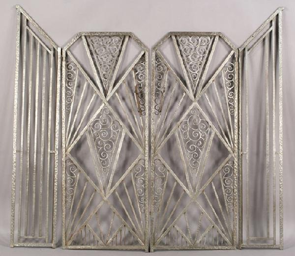 2: PAIR HAND HAMMERED FRENCH ART DECO GATES
