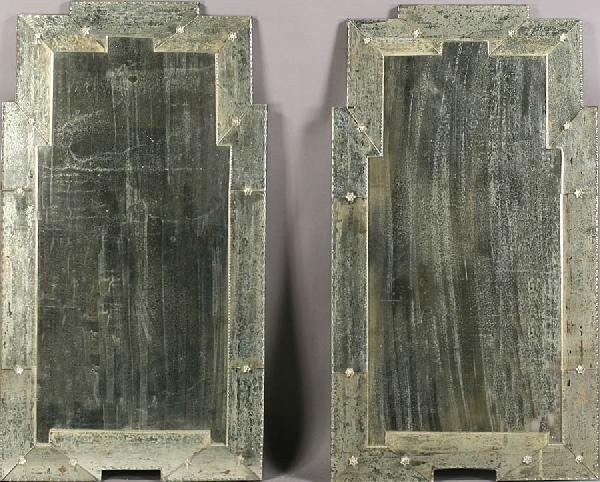 4: PAIR ART DECO DISTRESSED MIRRORS BEVELED FRAMES