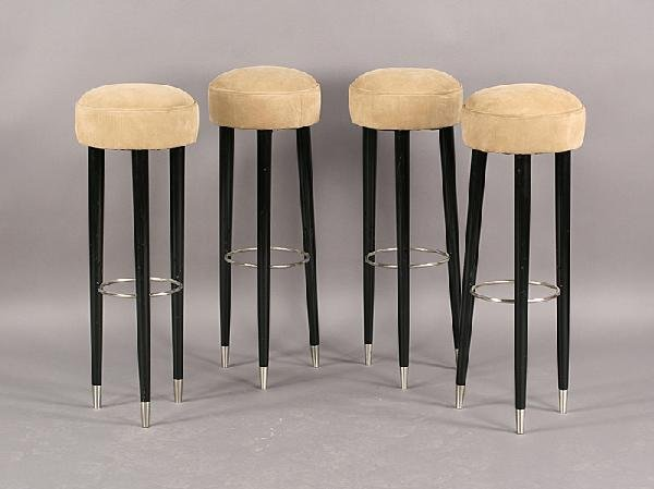 5: SET 4 ART DECO BAR STOOLS ULTRA SUEDE UPHOLSTERY