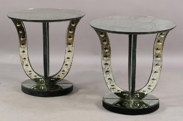 9: PAIR ART DECO DISTRESSED MIRRORED SIDE TABLES