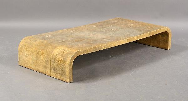 10: JEAN MICHAEL FRANK SHAGREEN CARVED COFFEE TABLE