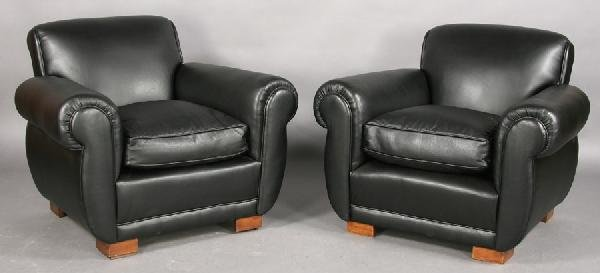 15: PR FRENCH LEATHER CLUB CHAIRS ROLLED BACKS ARMS