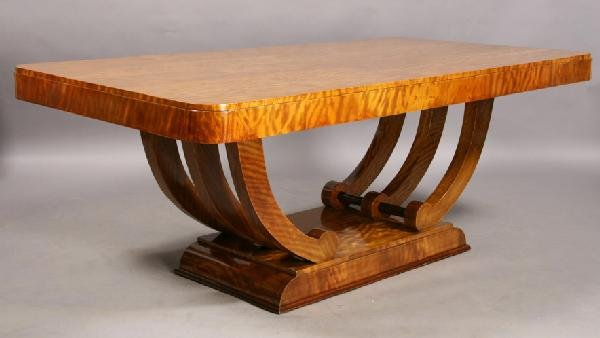 16: ART DECO FIGURED DINING TABLE