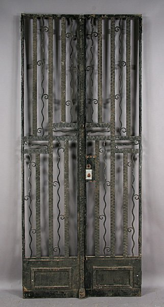18: PAIR ART DECO WROUGHT IRON GATES DOORS ETCHED