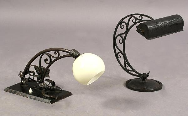 19: TWO WROUGHT IRON LIGHTS FER FORGE SIGNED RADOOX