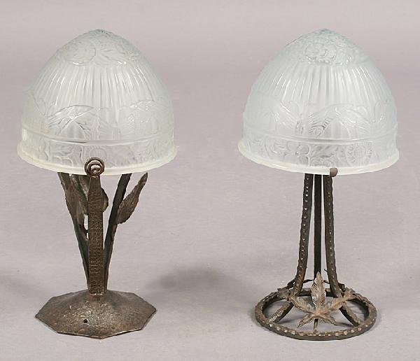 23: TWO FER FORGE TABLE LAMPS FROSTED GLASS