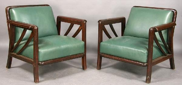 24: PR ART DECO LARGE LEATHER WOOD VINTAGE ARM CHAIRS