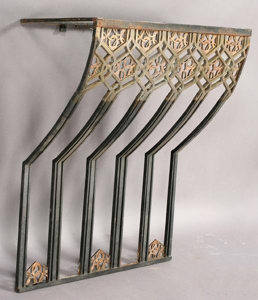 42: ART DECO BRONZE WROUGHT IRON CONSOLE TABLE