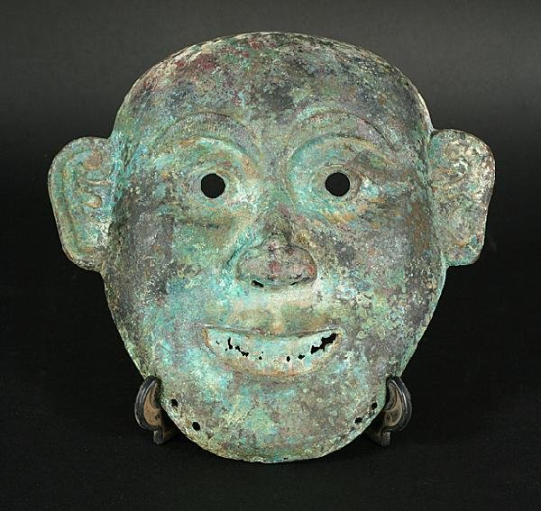 582: ANTIQUE CHINESE SHANG DYNASTY BRONZE MASK