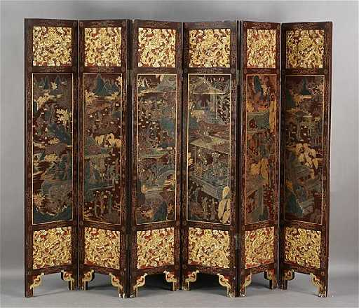 589 Antique Chinese 6 Panel Folding Screen