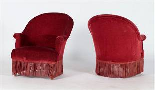PAIR FRENCH NAPOLEON III STYLE CLUB CHAIRS C.1900