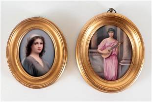 TWO 19TH CENTURY PAINTINGS ON PORCELAIN PLAQUES