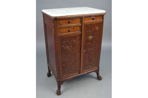 50101011: VICTORIAN  FRENCH MAHOGANY MARBLE TOP CABIN