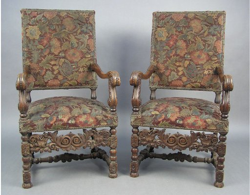 50101013: LARGE PAIR TAPESTRY  VICTORIAN ARMCHAIRS